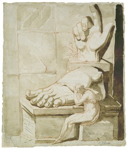 The Artist Moved by the Grandeur of Antique Fragments; the Right Hand and Left Foot of the Colossus of Constantine